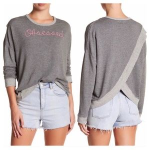 Sundry Obsessed Tulip Back Pullover Gray